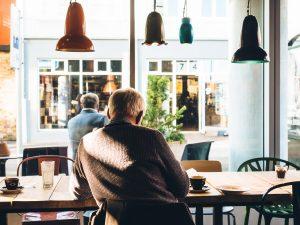 Elderly Man at Coffee Shop